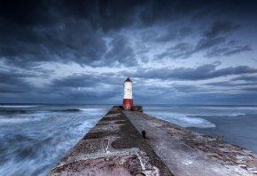 море, маяк, пейзаж, волны, пирс