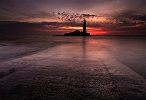 ночь, море, маяк, пейзаж