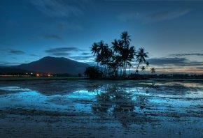 Обои Малайзия, гора, Джерай, вечер, огни, свет, пальмы, закат, небо, облака, вода, отражение, синева