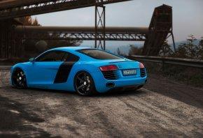 Audi, R8, blue, Ауди, Р8, голубой, вид сзади, дорога, отбойник