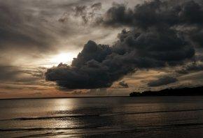 небо, берег, облака, тучи, вечер, море