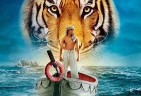 Жизнь Пи, Life of Pi, тигр, парень, лодка, море, вода, корабль, человек