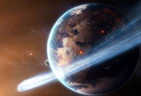 Обои земля, астероид, спутник, планеты, звезды, космос