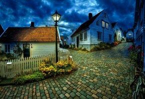 ночь, Город, улица, тротуар, камушки