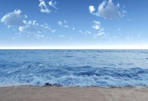 Море, волны, вода, берег, пляж, песок, небо, голубое, облака, лето, пейзаж