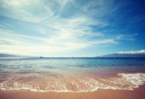 Обои берег, пейзаж, вода, песок, море, Природа, небо, облака