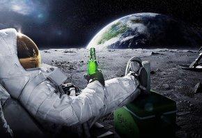 земля, carlsberg, астронавт, пиво, космос, Луна, космонавт