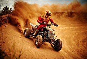 Спорт, гонщик, квадроцикл, пыль, трасса