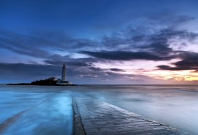 Обои закат, море, маяк
