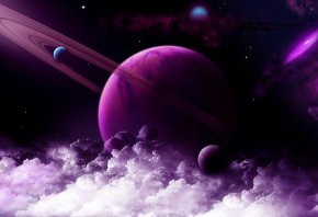 космос, планеты, звезды, облака
