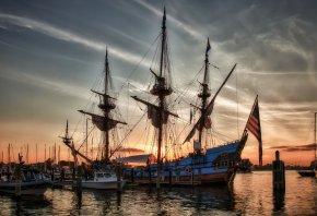 Обои закат, Корабли, Парусники, kalmar Швеция