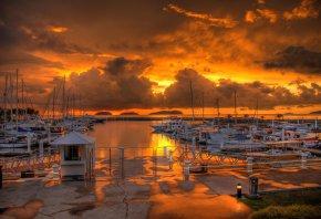 закат, облака, тучи, море, причал, лодки, катера