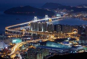 ночь, город, мост, огни, дорога, море