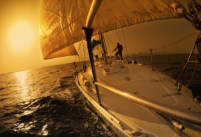 яхта, вода, парусники, закат