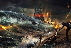Подводная Лодка, Море, Океан, Волны, Вода, Ракета, Люди, Огонь, Выстрел, Небо, Ночь, Темнота
