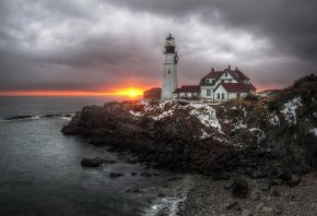 маяк, закат, скола, дома, вода
