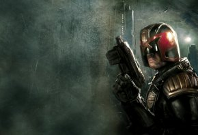 Судья Дредд, Dredd, оружие, шлем, здание, птица