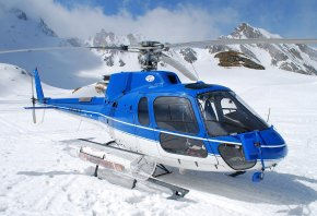 вертолет, спасательный, синий, горы, снег, небо