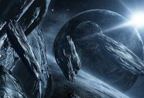 планеты, звезды, метеориты, Космос, глыбы, камни