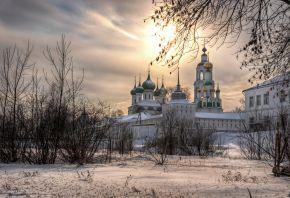 Свято-Введенский Толгский женский монастырь, закат, зима