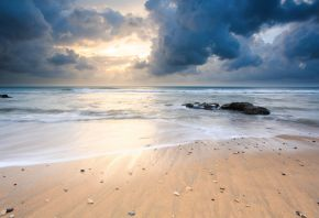 Обои Природа, берег, камни, море, песок, небо, пейзаж