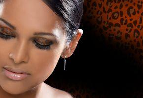 девушка, гламур, макияж, леопардовые тени, окрас, фон, glamour