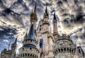 замок, башни, небо, облака