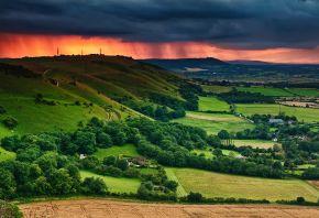 небо, облака, тучи, закат, поля, долина, дома, деревья, лето