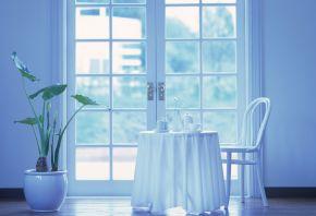чашка, чайничек, стол, растение, Балкон, стул