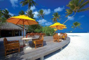 облака, стулья, Мальдивские острова, архитектура, пляж