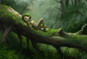 лес, мох, трава, дерево, человечек, отдых