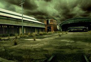 мрак, гаражи, ангар