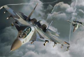 Су-30, облака, самолет