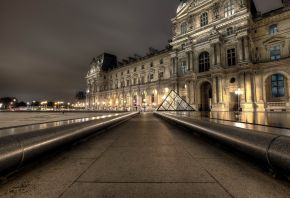 Париж, лувр, город, огни