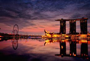 Город, отель, сингапур, вечер, ночь