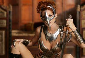 девушка, воин, латы, маска