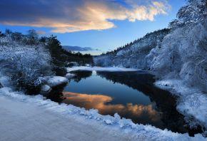 зима, река, ночь, снег, деревья