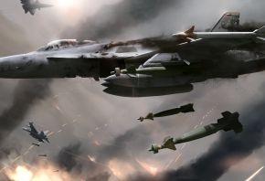 Обои снаряды, дым, в небе, самолеты, битва, истребители