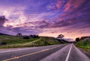 Закат, hdr, дорога, пейзаж