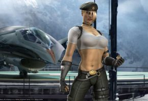 Обои Mortal, Kombat, 9, Sonya, форма, самолет