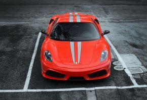 frrrari, f430, scuderia, red, феррари, ф430, скудерия, красный, передок, парковка, асфальт, полосы