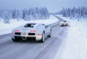 Обои snow, cars, white carsЗима, снег, автомобили, Bugatti Veyron, Bugatti Veyron