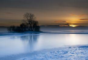 солнце, снег, лед, зима, закат, деревья, озеро