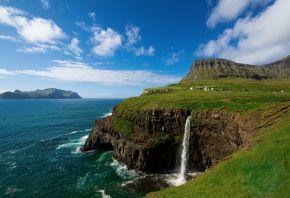 водопад, поселок, скала, море, обрыв