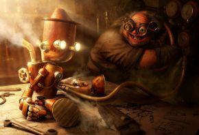 робот, гений, чертежи, ключ, кукла