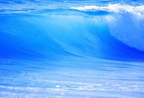 большая, голубая, волна, вода