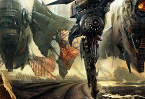 Обои корабль, летающий, разруха, война, дорога, огонь