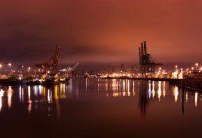 Обои сиэтл, город, ночь, огни, краны, порт