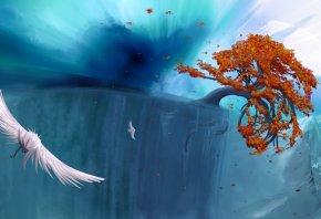 обрыв, дерево, осень, птица, полет, вода, корни, вид, панорама, листья, высота