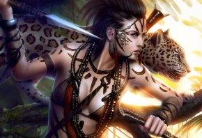 фантастика, девушка, лицо, профиль, взгляд, нож, кинжал, охотник, хищник, леопард, кошка